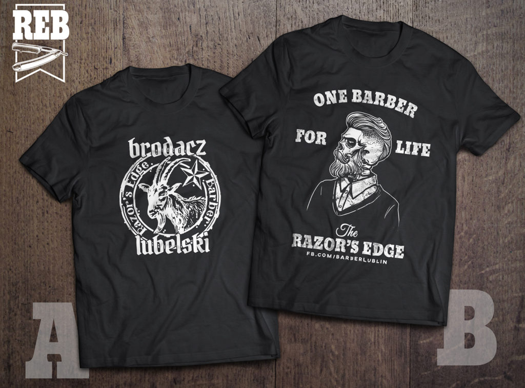 Koszulki barberskie - barbershop tshirt. Fryzjer męski i barber Lublin. Razor's Edge tshirt. Brodacz Lubelski.